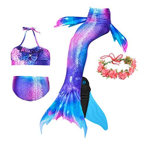 Guter Handwerker Mädchen Meerjungfrauenschwanz zum Schwimmen,Mermaid Tail, für Mädchen, Jungen, Kinder und Erwachsene Monofin Girlande INKLUSIVE (Perfekte Prinzessin, 140)