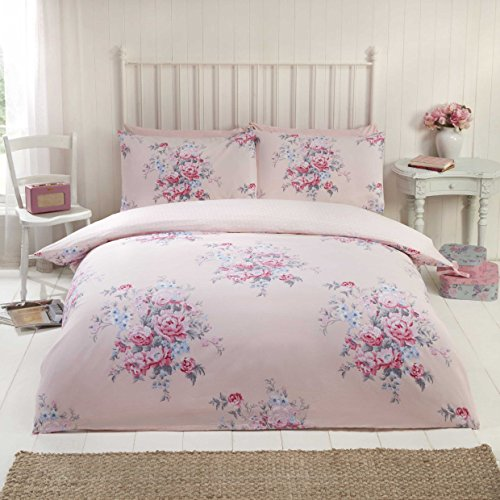 100% Baumwolle Feinbiber Bettwäsche King Größe Quilt Bettbezug Pink Floral Bettwäsche-Set (Floral Quilt Bettwäsche Set)