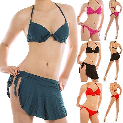 Damen Push Up Bikini Trieangel Bendeau mit Wiekelrock Pink