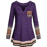 OverDose Damen Herbst Winter Daily Style Damen V-Ausschnitt Langarm Boho Patchwork Elegantes Tunika-Shirt mit Taschenbluse Langarmshirts Pullover Outwear(Violet,EU-34/CN-S)