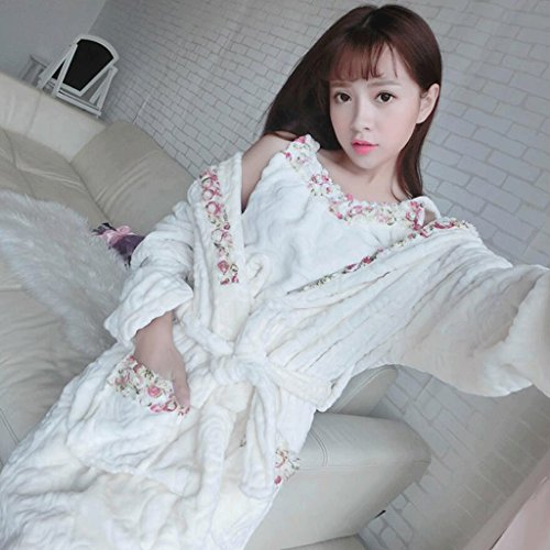 Bathrobe ZLR Ladies Autumn And Winter Season Long-sleeved Sweet Pajamas Thickening Warm Pajamas Two-piece