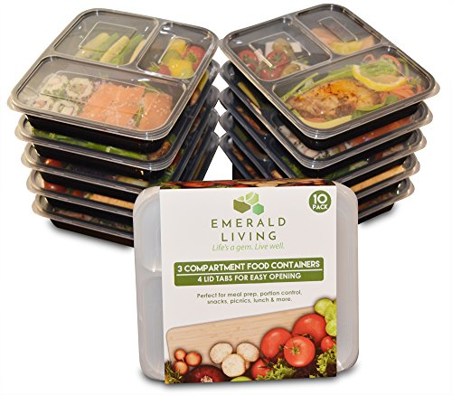 |10 pack| 3 fach Meal Prep Container. Frischhaltedosen Bento-Box Set mit Deckel. Spülmaschine, Mikrowelle, Gefrierschrank safe. BPA-frei Frishchalteboxen aus Kunststoff mit Trennwände [1L]