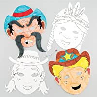 Baker Ross Wild West Colour-In Masks (Pack Of 6) For Kids To Make & Decorate