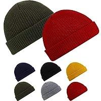 SATINIOR 2 Pieces Trawler Beanie Fleece Watch Cap Roll up Edge Skullcap Winter Hat Unisex (Red, Green)