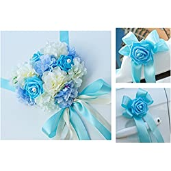 Set de Lazos de Flor para Boda o Decoración de Coche en color AZUL - Más colores a elegir