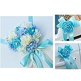 MagiDeal Kit Décoration Voiture de Mariage Fleur Artificielle à 5m Ruban avec 6 Grand Noeud de Papillon - Bleu