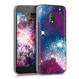 kwmobile Funda para Motorola Moto G4 Play - Carcasa de [TPU] para móvil y diseño galáctico en [Multicolor Rosa Fucsia Negro]
