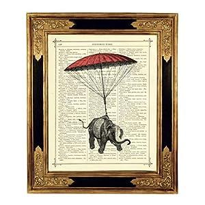 Elefant Fallschirm Kinderzimmer Deko Kunstdruck auf viktorianischer Buchseite Steampunk Geschenk Bild Poster ungerahmt