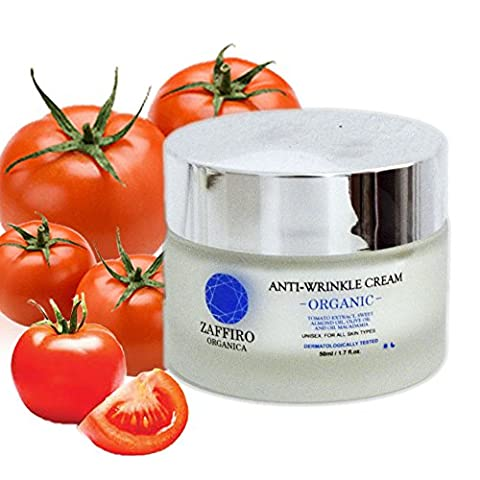 Zaffiro Organica Best Anti Ageing Cream with Pure Extract of Tomato | Lifting firming and wrinkle smoothing effect, melts fine lines away with pure VITAMIN C + E | Skin Care Treatment for fine lines & Acne |For Men & Women| For Day & Night | 50ml