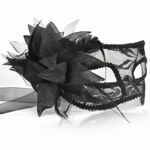 Schwarze Spitze venetianische Maskerade Maske mit Blumen und Federn
