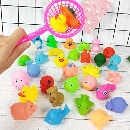 YOIL Set von 20 Stück Kinder Cartoon Niedlichen Tier Badewanne Bad Bad Squirt Spielzeug Wasser Spielen Spielzeug mit Net Angeln