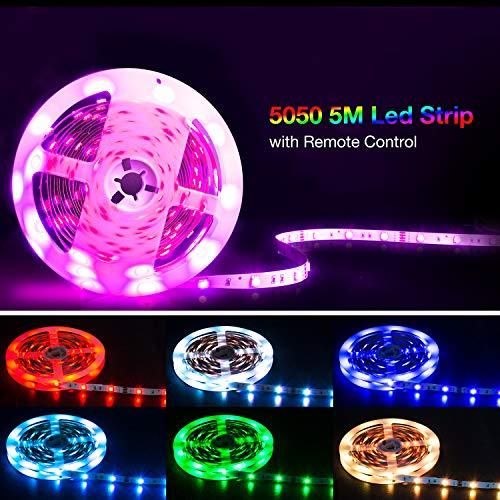Led Strip 5M,SHINELINE Led Lichtband Led Band SMD5050 RGB Led Strip mit Fernbedienung und Netzteil,Led Beleuchtung.MEHRWEG