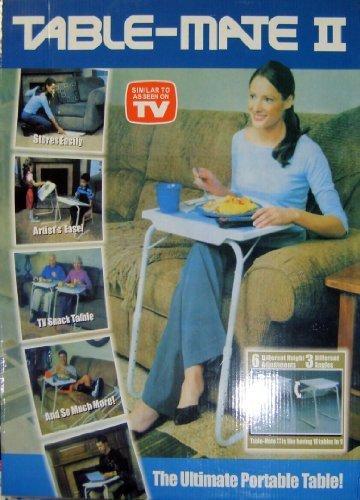 Table-Mate - Table portative ajustable et pliable - légère - supporte jusqu'à 22.70 kg - Ecart entre les pieds : 46 cm - ajustable à 6 hauteurs : de 55.8 cm à 73.5 cm