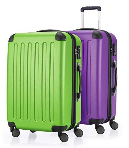 HAUPTSTADTKOFFER - Spree - Set di 2 Valigie Trolley rigido con estensione, ABS, TSA, 4 ruote, 65 cm, Mela verde-Viola