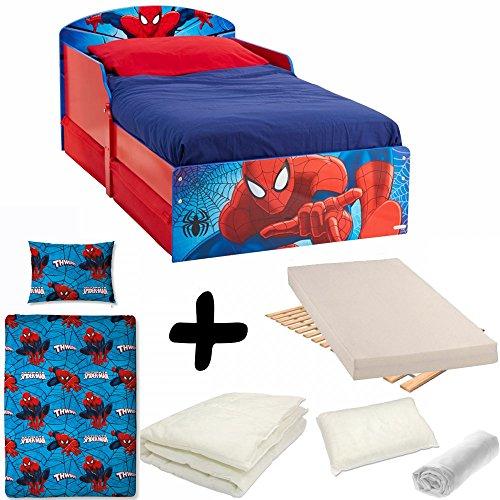 Bebegavroche Komplettset Spiderman Design = Bett + Matratze + Bettwäsche + Kissen