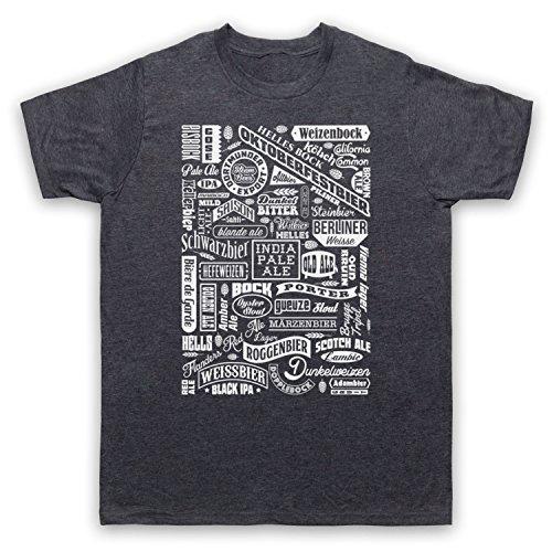 Craft Beer Types Drink Lover Typography Herren T-Shirt Jahrgang Schiefer