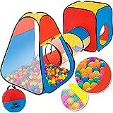 KIDIZ® Spielzelt Spielhaus Babyzelt 200 Bälle Bällebad Kinderzelt | Ideal für Zuhause & im Garten | Tasche | Tunnel, (XL)