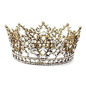 BINGMAX Brautkrone Tiara Stirnband Braut Brautjungfern Kristall Diadem Blatt Strass Krone Tiara Stirnband für Hochzeitsfest
