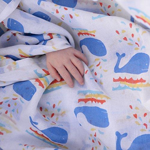 Piccalilly Bio-Baumwolle Vielfarbig Baby Jungen Walfisch Druck Musselin Puck Tüch