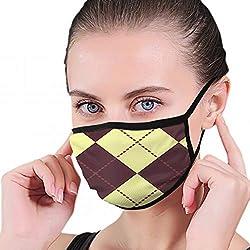 Zwei modische farbige Argyle S-Illustrationen Clipart-Grafik Staubschutzmaske aus waschbarem und wiederverwendbarem Polyester Gesichtsmaske zum Schutz vor Grippe-Keimpollen-Allergie Atemschutzmaske
