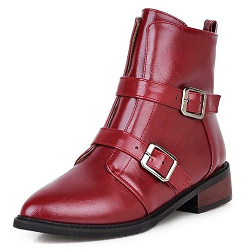 COOLCEPT Damen Stiefeletten Flach Reißverschluss Warm Gefüttert Gemütlich Knöchelriemchen Mode Rot deFweDKp5