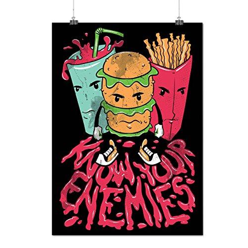 Connaître Votre Ennemis Aliments Dessin animé Amusement Matte/Glacé Affiche A4 (30cm x 21cm) | Wellcoda