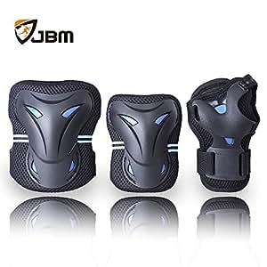 JBM Sports Gear Sicherheit Pads Safeguard Knie Ellenbogen Handgelenk Unterstützung Pad Set Schutzausrüstung für Kinder / Kinder Roller Skate BMX Fahrrad skateboard Extreme Sport Protector Wachen Pads (Schwarz & blau, Kinder)
