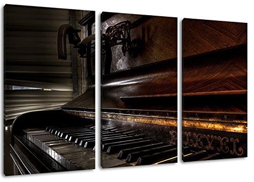 altes-Klavier-schwarz-wei-FormatDreiteiler-Gesamt-120x80-Bild-auf-Leinwand-bespannt-riesige-XXL-Bilder-komplett-und-fertig-gerahmt-mit-Keilrahmen-Kunstdruck-auf-Wand-Bild-mit-Rahmen-gnstiger-als-Gemld