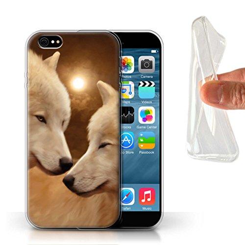 Officiel Elena Dudina Coque / Etui Gel TPU pour Apple iPhone 6 / Face à Face/Tigre Design / Les Animaux Collection Loups Blancs