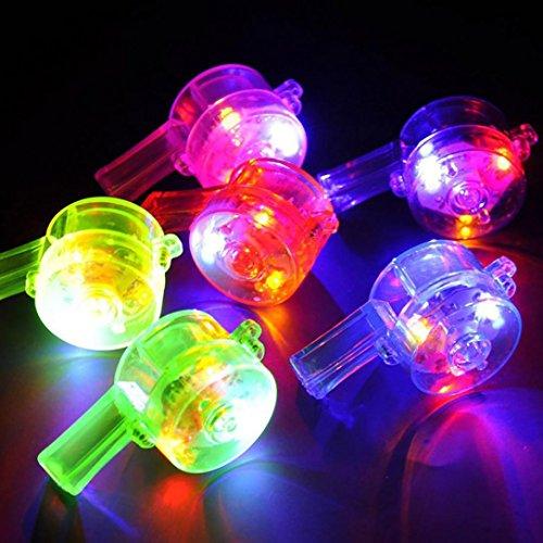 Blinkende Pfeife Bunte Lanyard LED Leuchten Spaß In der Dunkelheit Party Rave Lichtpfeife Spielzeug HKFV (Random)