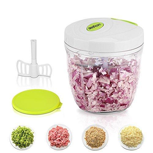 Sedhoom Manueller Zerkleinerer, 5Klingen, 3Behälter, leistungsstark, leicht, Gemüse, Zwiebel, Zerkleinerer/Küchenmaschine/Mixer