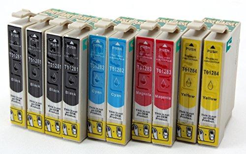 10 Compatible Cartouches encre avec puce T1285 Multipack - (4x T1281 Noir + 2x T1282 Cyan + 2x T1283 Magenta + 2x T1284 Jaune) pour Epson Stylus Office BX305F // Epson Stylus Office BX305FW // Epson Stylus S22 // Epson Stylus SX125 // Epson Stylus SX420W // Epson Stylus SX425W