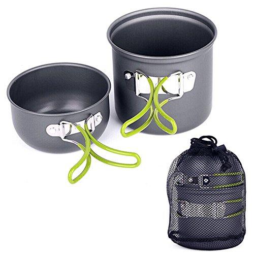 Camping Geschirr-Sets,Das Outdoor-Kochset Kochgeschirr besteht aus 2Teilen, ideal für 1-2 Personen,Antihaft Kochgeschirr Picknickbedarf