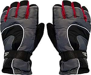 1 Paar Innengefütterte Ski /- Snowboard - Handschuhe schwarz/grau/rot (bis -20°) mit hohem Tragekomfort