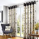 Fusion Home Furnishings Idaho-100% Cotton Eyelet Curtains, Fabric, Charcoal Grey, Full