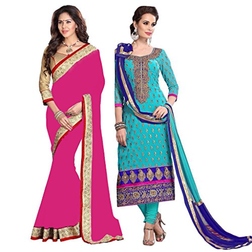 Pink Bird Women\'s Sky Blue Chanderi Suit And Pink Georgette Beautiful Saree Traditional Partywear Salwar Suit And Saree Combo Of 2 (PB-6565-PB-12018(P))