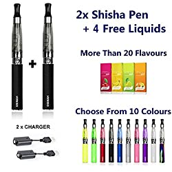 CE4 2 x E-Shisha Rechargeable electronic Cigarette Cigarette Pen starter kit vapour vaping Shisha/sheesha black Colour free 4 flavour NO TAR, NO NICOTINE, NO CARBON MONOXIDE, NO TOBACCO by v juice