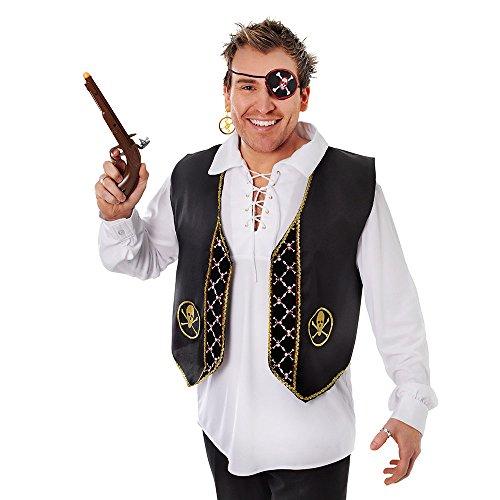 Piraten Beard Black Kostüm - Bristol Novelty BA804 Luxus Pirat Weste, Herren, mehrfarbig, Einheitsgröße
