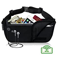 MYCARBON Travel Money Belt RFID Hidden Security Pouch Undercover Waist Pack with Pocket for Money, Cards, Passports, Smartphone up to 6