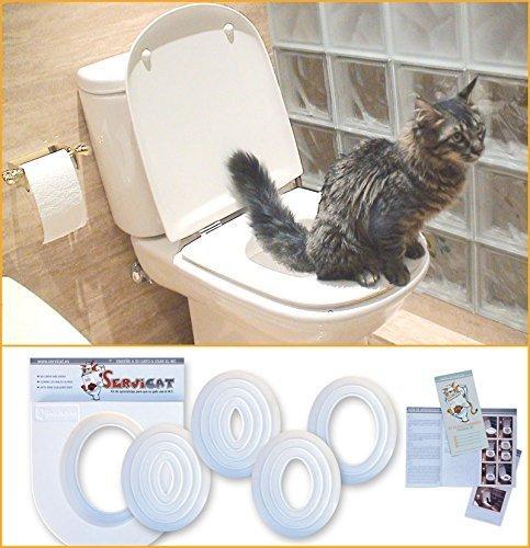 Servicat - Kit de Adiestramiento para Gatos. Enseña a tu Gato a Usar el Inodoro en 5 pequeños Pasos.