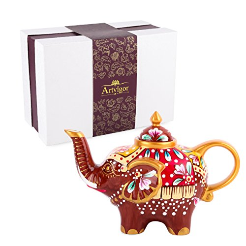 Artvigor, Porzellan Kaffeekanne, 0,8 L Tee Kanne, Handbemalt Elefant Tierfigur -