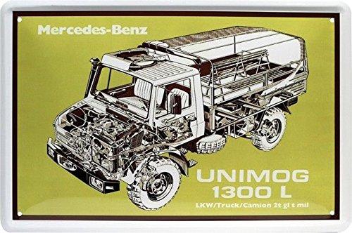 Blechschild 20x30 cm UNIMOG 1300 L Mercedes Oldtimer LKW Werstatt Werbung Reklame Metall Schild
