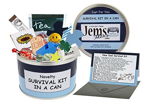 Neue Baby-geschenk-karte (Dad zu Survival Kit in einer Dose. Humorvolles Geschenk–Neue Eltern/Vater. Baby Dusche Geschenk und Karte Alles in einem Dosenfarbe kann, blau / marineblau, 10 x 6 cm)