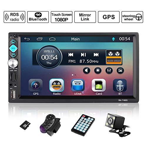Autoradio Bluetooth, CATUO 7 Zoll HD Touchscreen Auto Radio GPS Navigation/2DIN Auto Mp5 Player/Car Radio/Auto Multimedia Player, unterstützt Mirrorlink/Bluetooth Freisprecheinrichtung/7 LED Beleuchtungsfarben/AM/FM/RDS/USB/TF/AUX IN/Ausgabe, mit Fernbedienung/Rückkamera/Lenkradsteuerung/8G SD Karte