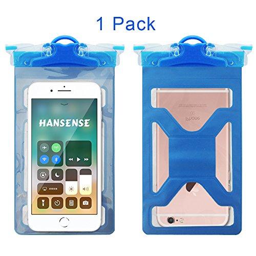 Universal Wasserdichte Handy-Schutzhülle, hansense Handy Dry Bag Pouch mit Dual Whistle Armbinden und Umhängeband für iPhone X 8Plus 876S Plus Samsung Blu Moto bis 15,2cm, Blau