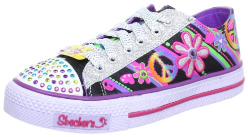 Skechers Shuffles Groovy Baby, Baskets mode fille Noir (Bmlt)