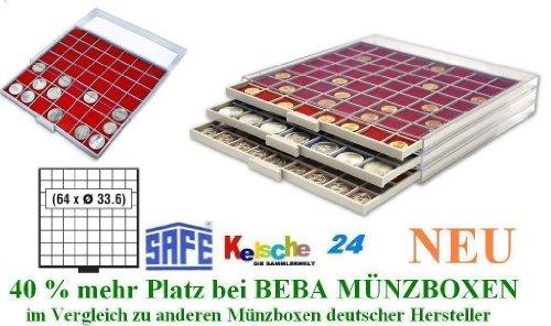 SAFE MÜNZBOXEN BEBA - MB6108R - 64 x 33,6 MM FÄCHER GRATIS mit roten Filzeinlagen - für Münzen bis 33,6 mm und Münzkapseln bis Caps 26 - 27 mm - Ideal 5 - 10 EURO / DM / MARK DDR & 2 EURO / DM / ZLOTY / US PRESIDENTIAL DOLLARS IN MÜNZKAPSELN