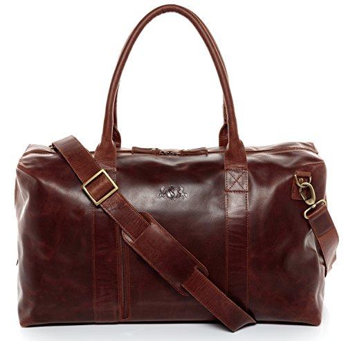 SID & VAIN Reisetasche Leder Yale Zip groß Sporttasche Unisex 38l Weekender echte Ledertasche Damen Herren 53 cm braun