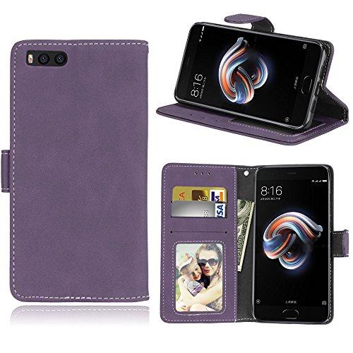 Funda Xiaomi Mi Note 3 Case,Bookstyle 3 Card Slot PU Cuero cartera para TPU Silicone Case Cover(Violeta)