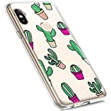 MoreChioce compatible avec Coque Xiaomi 6X Xiaomi A2 Étui Silicone,Jolie motif Cactus Transparente Anti-Rayures Housse Protecteur Crystal Flexible Gel Souple TPU Case Bumper Skin